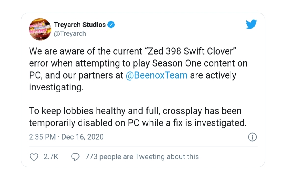 tweet разработчика игры CoD Warzone